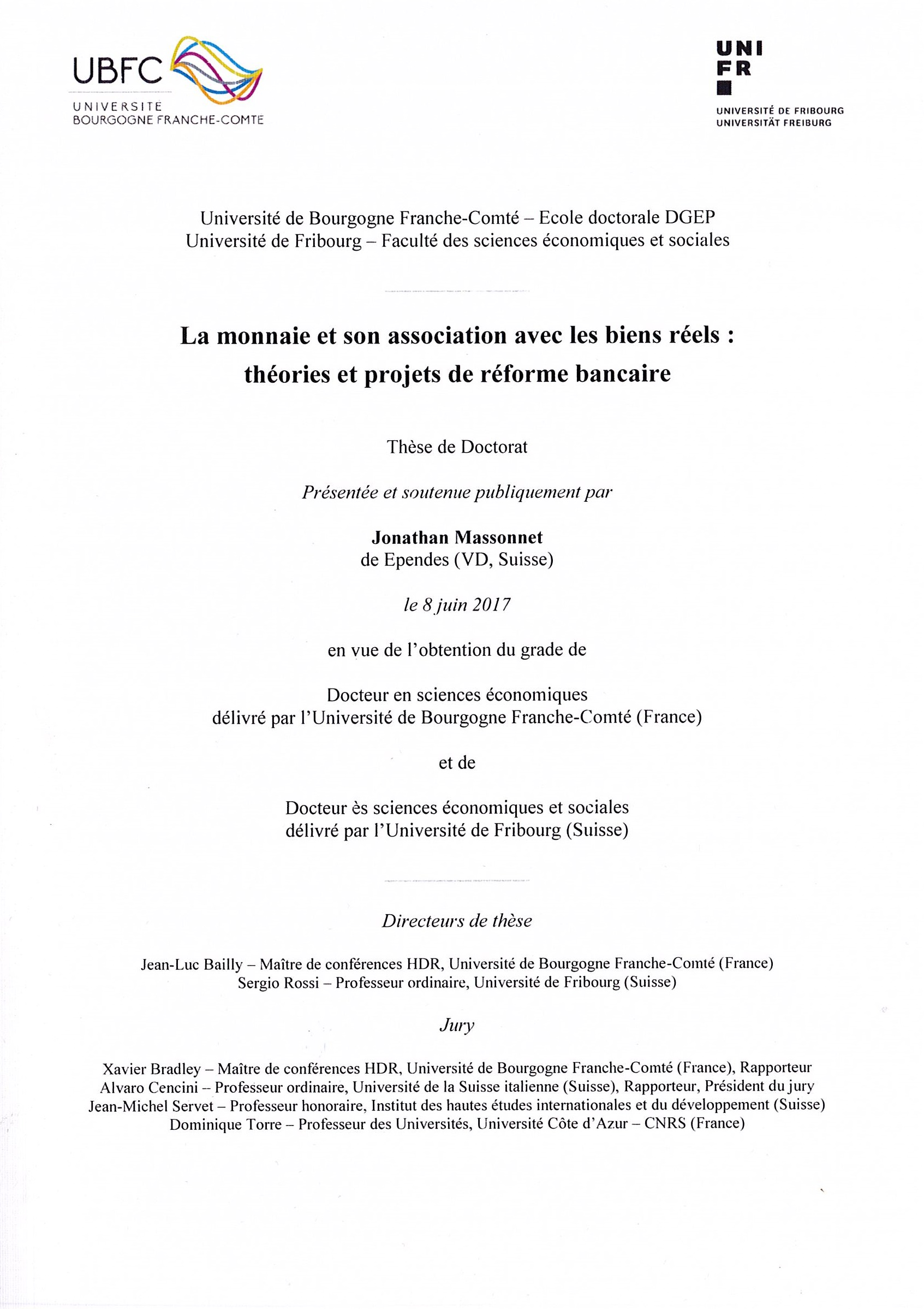 faculty of economics and social sciences theses publiees theses published