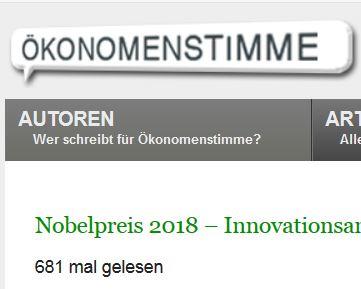 Nobelpreis 2018 – Innovationsanreize und Klimapolitik