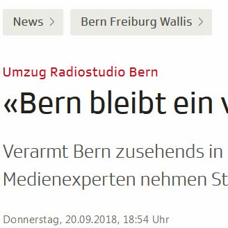 Verarmt Bern zusehends in der Schweizer Medienlandschaft?